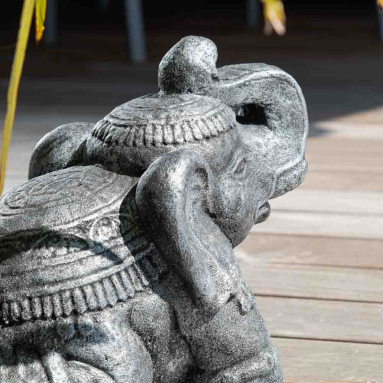 Antique grey seated Elephant statue 40 cm