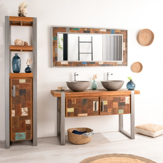 Factory wood and metal bathroom double-sink vanity unit 140 cm
