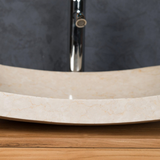 Genoa large rectangular cream polished marble countertop sink 50 cm