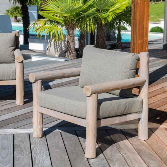 Armchair : Teak armchair, cushions, 80 cm, Lodge