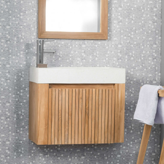 Luxury wall-mounted hand basin and teak unit 60
