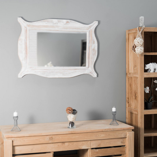 Modern white ceruse weathered-finish wood mirror 70 x 100 cm