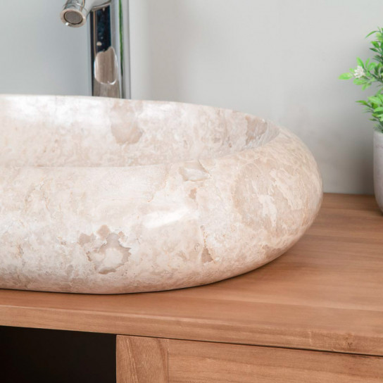 Murano large cream marble countertop sink 60 cm