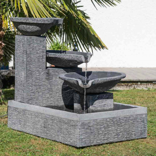 Overflow 3-bowl black and grey garden water feature 110 cm