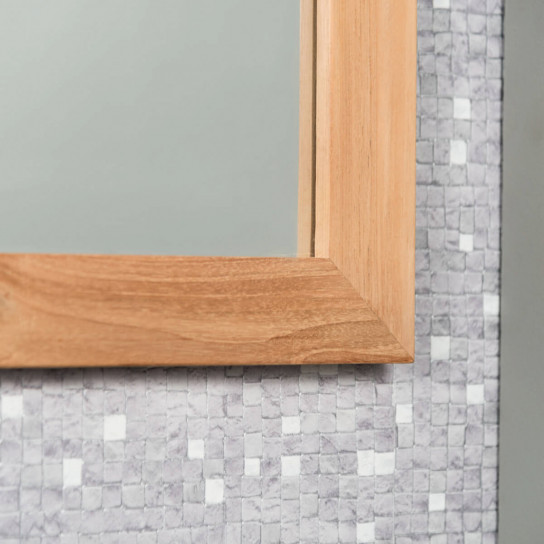 Square solid teak mirror 70 cm