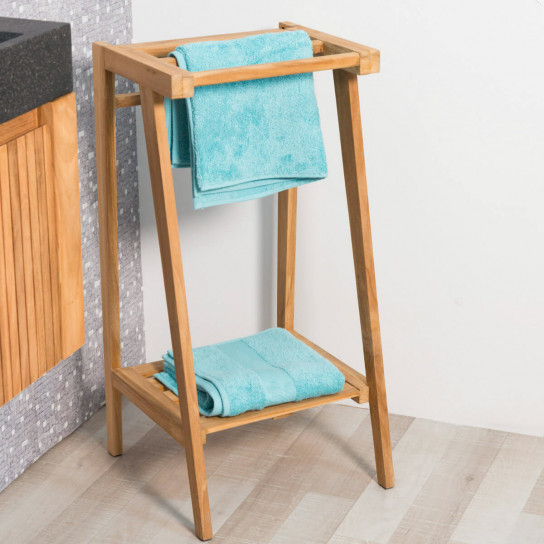 teak freestanding towel holder