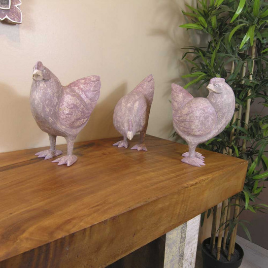 Yesteryear collection taupe plum hen in ceruse weathered-finish wood - 24 cm