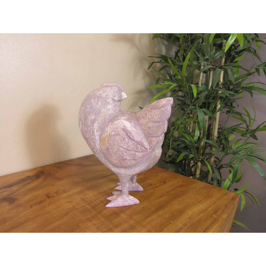 Red grey hen in ceruse weathered-finish wood