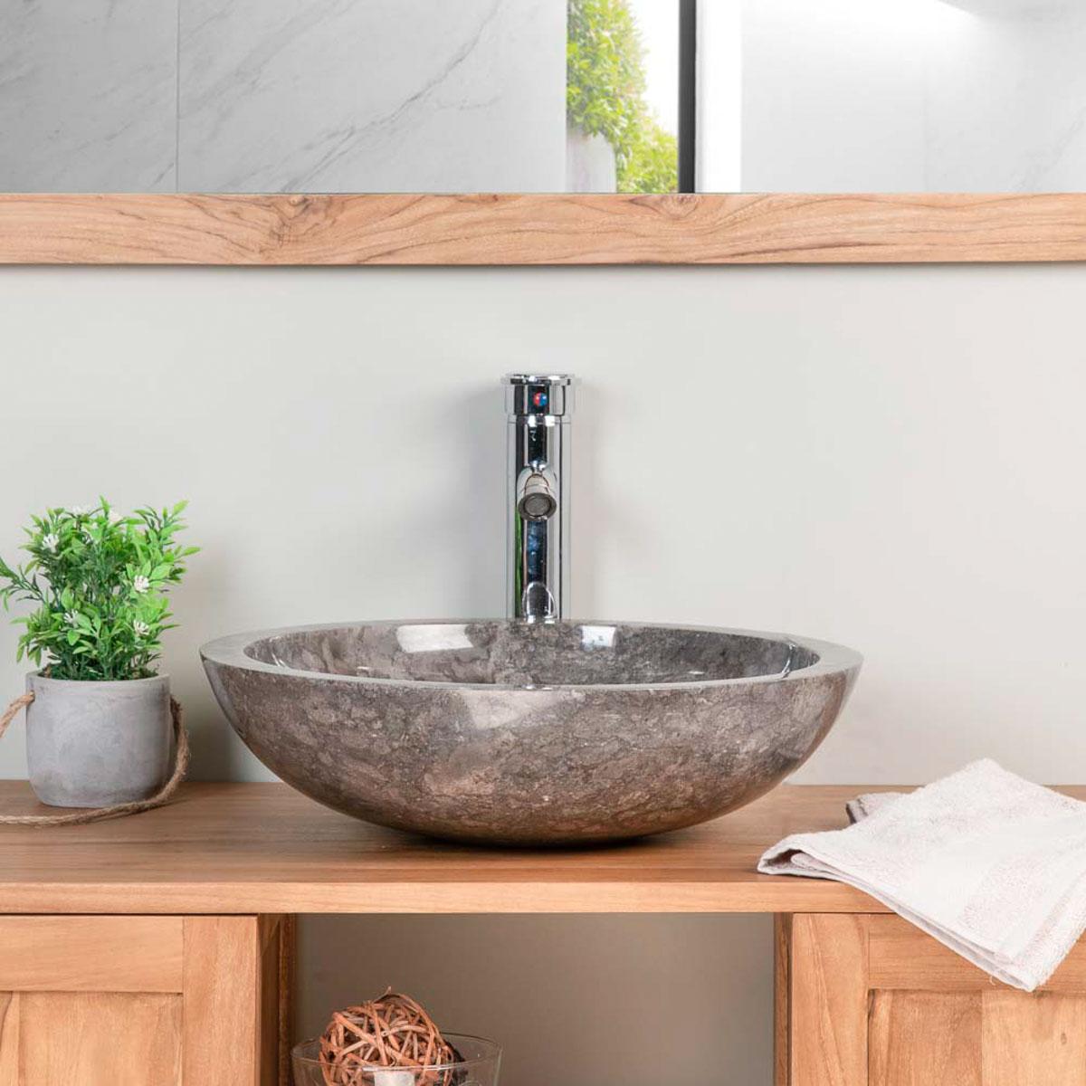 Marble Countertop Sink Barcelona Round Grey D 45 Cm