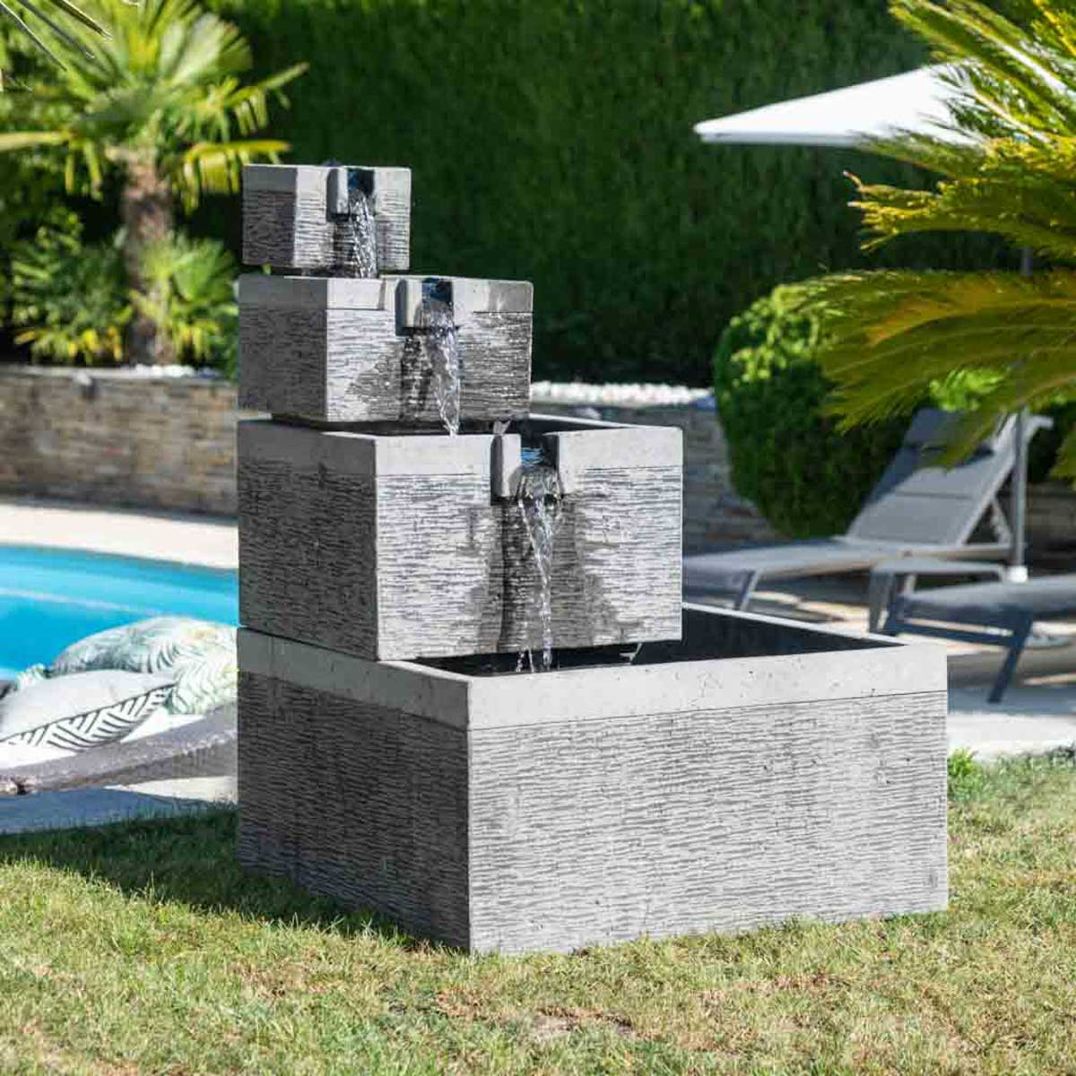 Jardin Avec Fontaine Zen black and grey 4-bowl square basin garden water feature