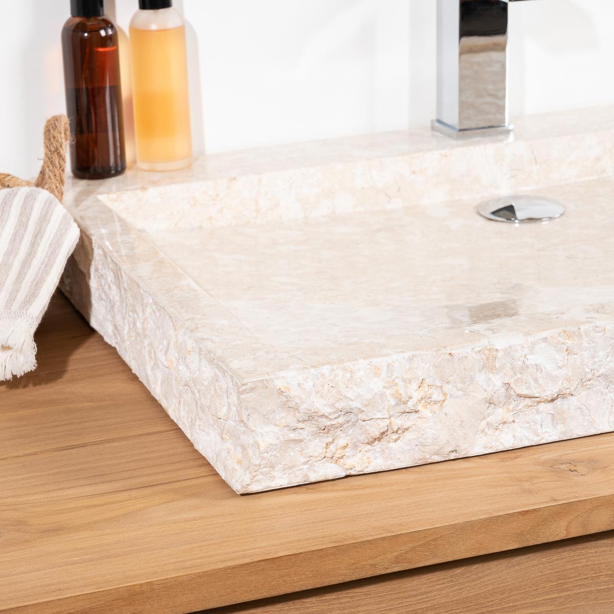 Plan Vasque En Pierre cosy large cream rectangular marble countertop sink 70 cm