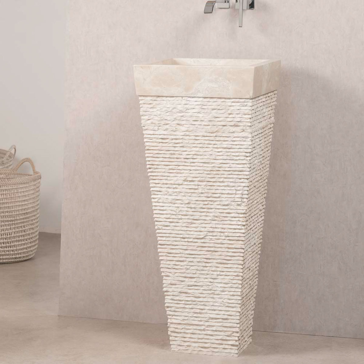 Marble Pedestal Sink Havana Square Cream D 40 Cm