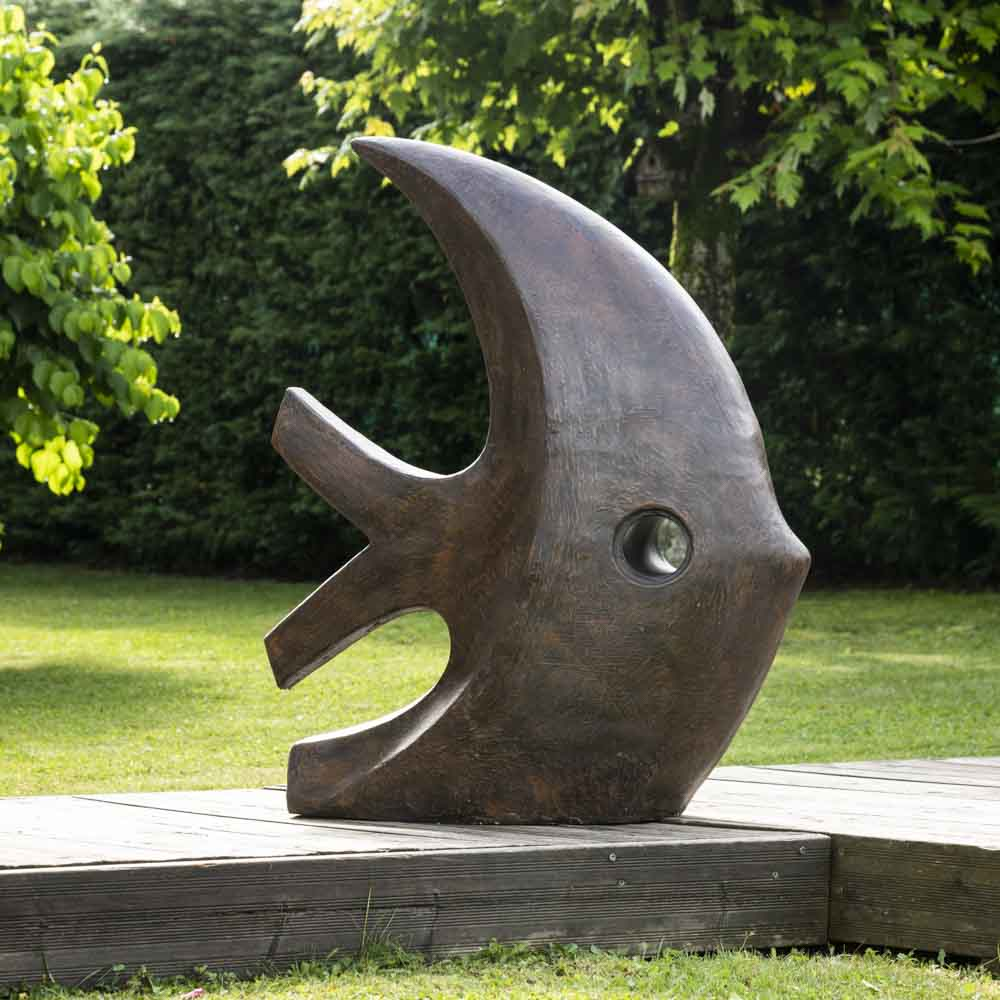 Garden Statue Modern Sculpture Fish Brown 100 Cm
