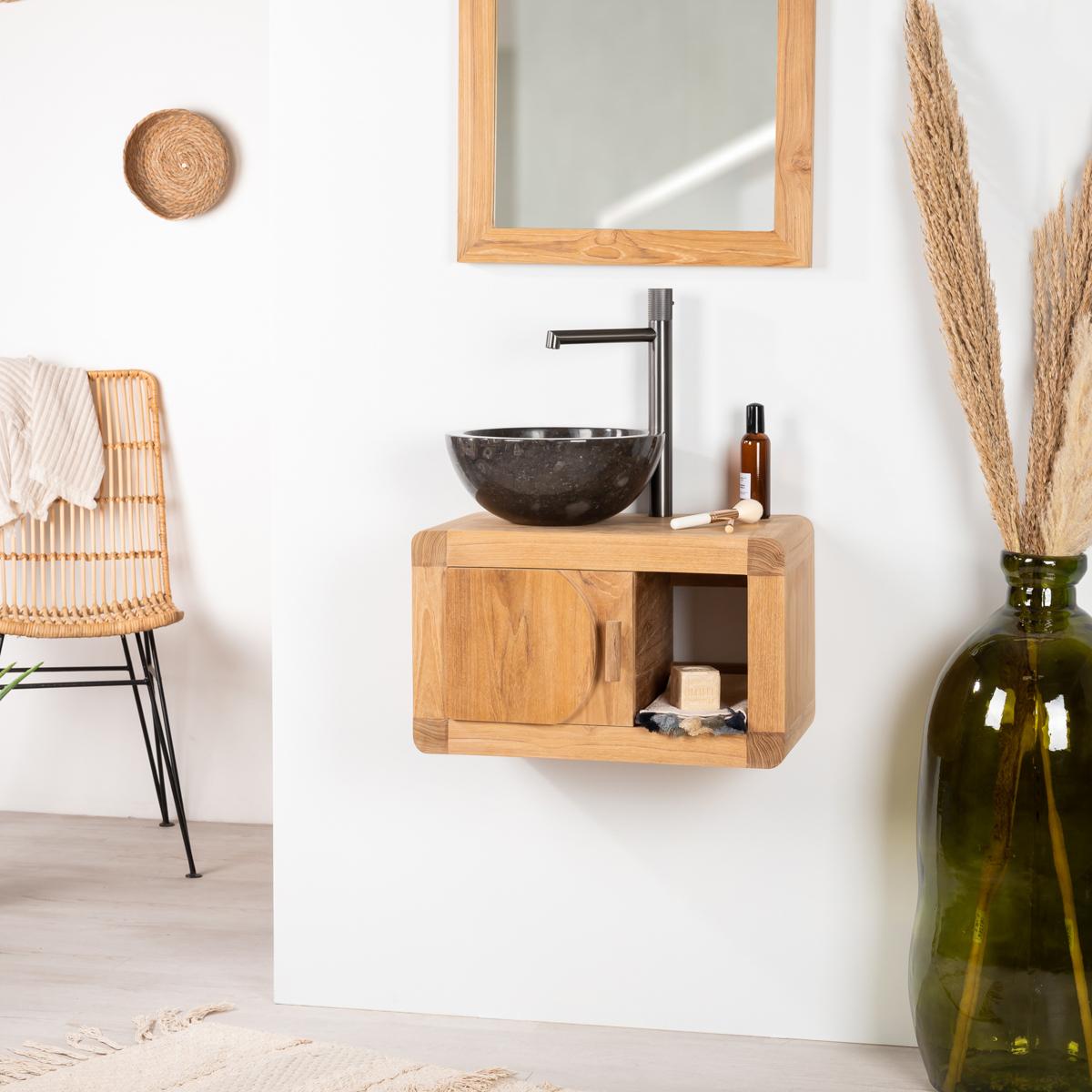 Solid Wood Teak Wall Mounted Vanity Unit Single Sink
