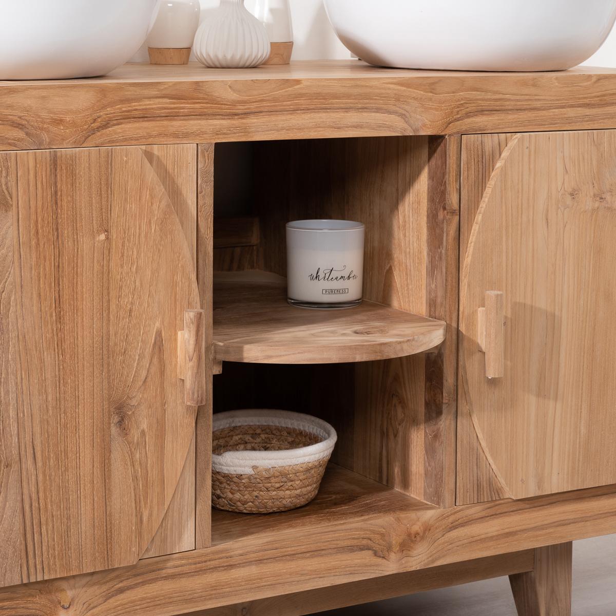 Solid Wood Teak Vanity Unit Double Sink Retro