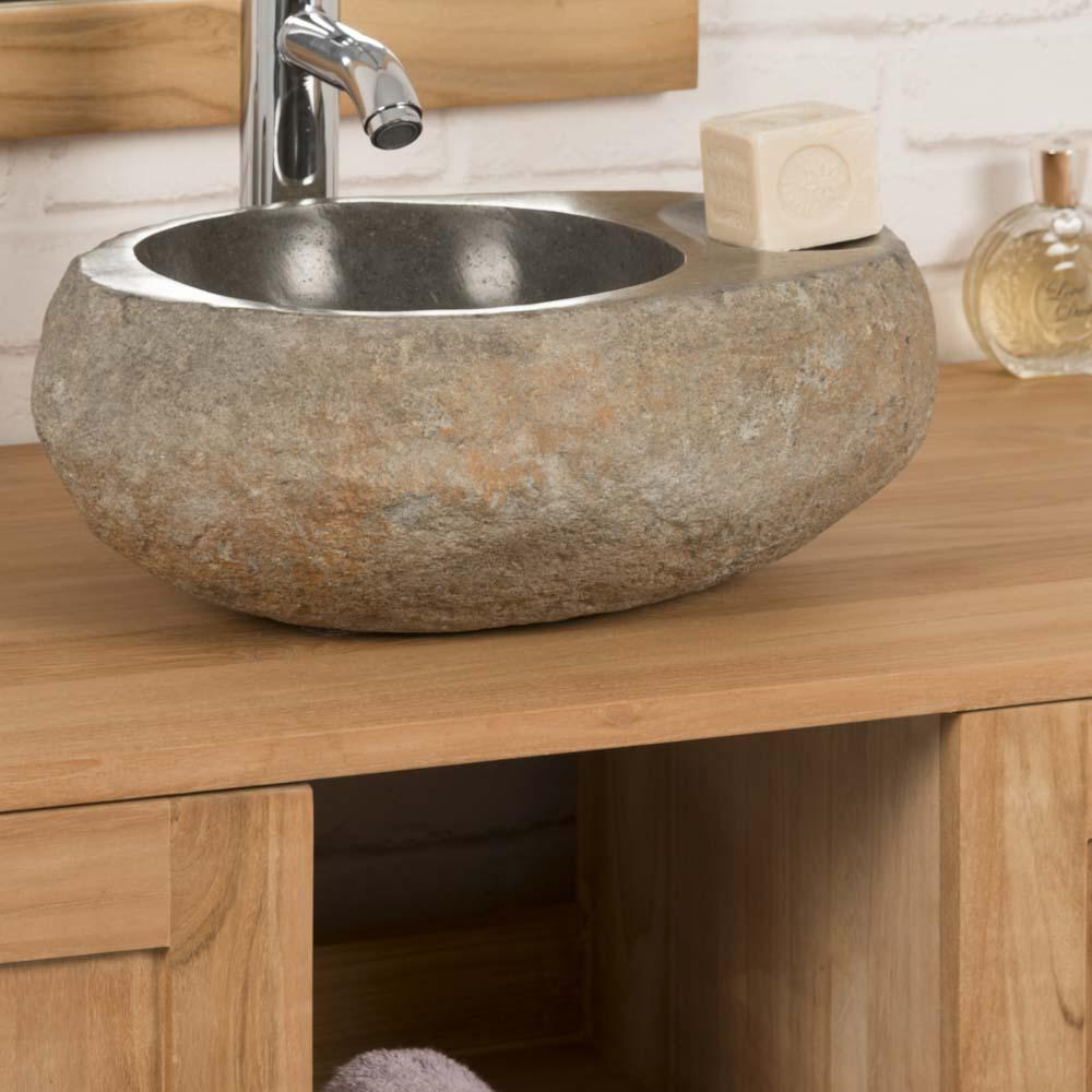 River Stone Countertop Sink Soap Holder Natural L 35 Cm