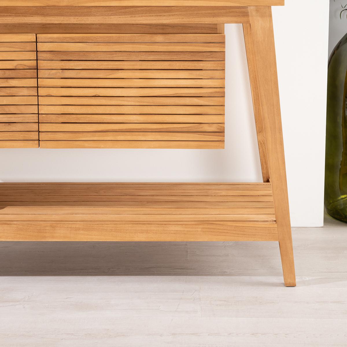 Solid Wood Teak Vanity Unit Double Sink Scandinavian Natural L 140 Cm