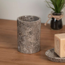 Grey marble soap and toothbrush holder set