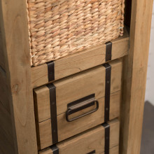Loft wood and metal bathroom storage unit 190 cm