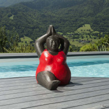 Contemporary red fat woman statue 1 m